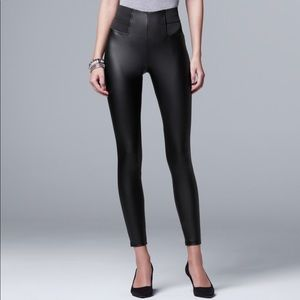 Simply Vera Wang Faux Leather Leggings NWT